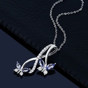 Blue Tanzanite 925 Silver Butterfly Necklace